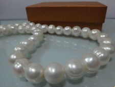HUGE 12-13MM NATURAL SOUTH SEA WHITE BAROQUE PEARL NECKLACE 18""