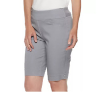 Women's Croft & Barrow Mid Rise Stretch Bermuda Shorts, Grey, Size: 20 Regular