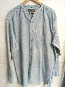 """Heavy Construction blue & grey striped Grandad shirt XL/46""""-48""""Chest"""