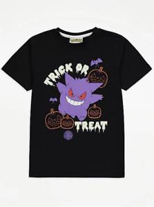 Boys Pokemon Halloween Top T-Shirt Casual Kids Childrens Short Sleeve Gengar
