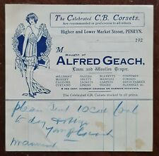 1920s Alfred Geach, Linen & Woollen Draper, Market Street, Penryn Invoice