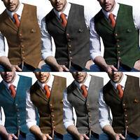 Mens Vintage Tweed Waistcoat Herringbone Wool Vests Suit Notch Lapel Slim S-3XL