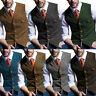 Mens Vintage Tweed Waistcoat Herringbone Wool Vests Suit Notch Lapel Slim S-3XL+