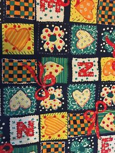 """Material fabric off cuts- Heart/ Floral Patchwork Design - 33"""" X 11"""""""