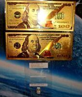 Silver & bills lot:  2 (two) - 24k gold foil bills, 1 gram .999 solid silver bar