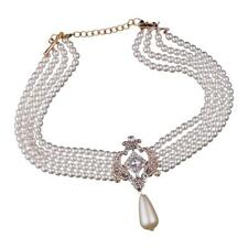 Lady Statement Bib Collar Necklace Faux Pearl Crystal Pendant Multi Strand