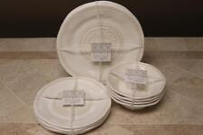 BOHO LIVING HOBNAIL MEDALLION MELAMINE DINNER SALAD SOUP SET -CREAM/BEIGE- 12PC