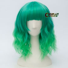 Mix Green Fringe Bangs Curly Short Party Women Anime Heat Resistant Cosplay Wig