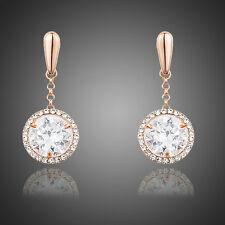 Sparkly Shiny Zircon Rhinestone Rose Gold Plated Drop Dangle Women Round Earring