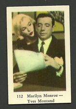 Marilyn Monroe Yves Montand Vintage 1950s Movie Film Star Card from Sweden #112