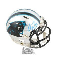Christian McCaffrey Autographed Panthers Chrome Mini Helmet - BAS COA (Blue Ink)