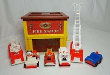Vintage Fisher Price Little People Play Family Fire Station & Extras
