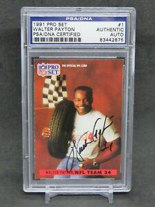 1991 PRO SET WALTER PAYTON SIGNED AUTOGRAPHED AUTO #1 PSA AUTH BEARS JV