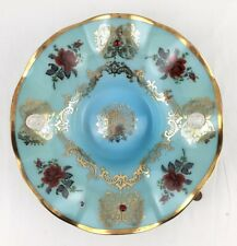 Vintage Murano Italy Blue Green Art Glass Bowl Dish Lg Roses Cameo Gold MCM 14""