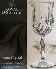 ROYAL DOULTON ROMA SET OF 4 White Wine Glasses CRYSTAL MADE IN ITALY CLEAR NEW