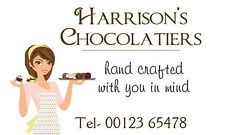 21 PERSONALISED GLOSS HAND MADE CHOCOLATE/ TRUFFLES BUSINESS STICKERS, LABELS