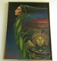 BECERRA PAINTING MODERNIST SURREAL SOUTH AMERICAN MAYAN ? PORTRAIT 1960'S ICON