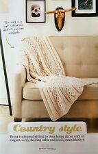 KNITTING PATTERN Sofa Blanket Cable and Moss Stitch Throw Home Bernat PATTERN