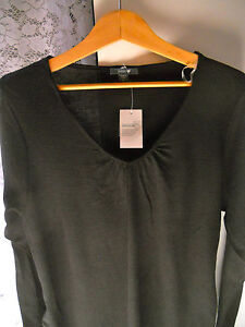 Ladies Patch Maternity merino wool v neck long top sweater Size S &  L    NWT