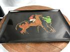 Vintage Mid Century Modern Couroc of Monterey Jockey Racehorse Tray  WH 16