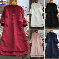 Women Button Long Sleeve Casual Loose Long Tunic Top Blouse T-Shirt Mini Dresses