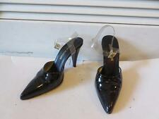 WOMENS ISAAC MIZRAHI BLACK PATENT LEATHER CLEAR ANKLE BUCKLE PUMPS SIZE 7 1/2B