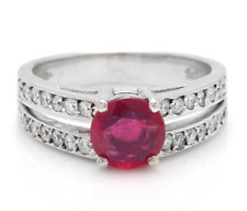 1.60 Carats Red Ruby and Natural Diamond 14K Solid White Gold Ring