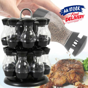 8/16 Jar Rotating Spice Rack Holder Kitchen Seasoning Condiments Container ACB#