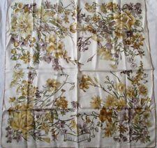 """Foulard """" GABRIELLI  """" thème -Les fleurs- vintage soie scarf - 90 cm x 89 cm /"""