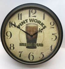 "Pint Works Irish Pub Beer Wall Clock 16"" Sterling & Noble Decor Bar 5"" Deep"