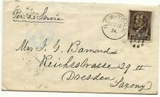 1882 NY Cover to Wife of Civil War General John G Barnard in Dresden Germany,