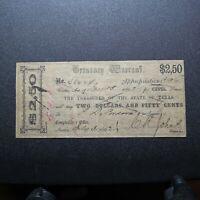 1862 Texas Treasury Warrant $2.50
