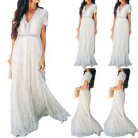 Womens Summer Boho Long Maxi Evening Party Beach Lace Dress Short Sleeve Dress