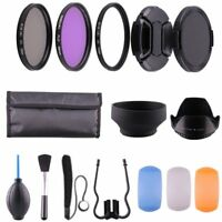 58MM UV CPL Polarizer FLD + Clean Kit + Lens Hood Cap for Canon Nikon DSLR 58mm