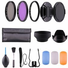 58MM UV CPL Polarizer FLD + Clean Kit + Lens Hood Cap for Canon Nikon DSLR 58mm