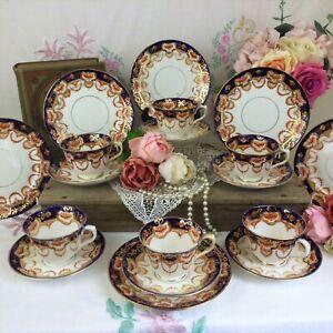 Royal Albert Crown China Imari Tea Set For 6. Rare Pattern 4250