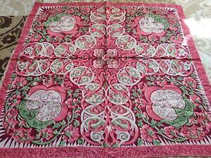 Vintage Silk Handkerchief 50 years of the Uzbek USSR 86 x 81 cm