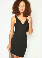 Miss Selfridge Black Ribbed Cut out Body con dress SIZE 14 BNWT £28