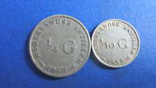 Niederländisch Antillen Silber 1/4 Gulden 1960+1/10 Gulden 1957 in ss (2046)