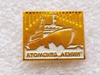 """Vintage Russian Pin Badge Soviet Navy,Atomic Icebreaker """"Lenin"""",USSR"""