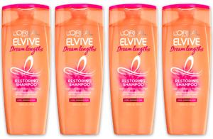 (4) L'Oréal Paris ELVIVE Dream Lengths Restoring 12.6 oz Shampoo Fine Castor Oil
