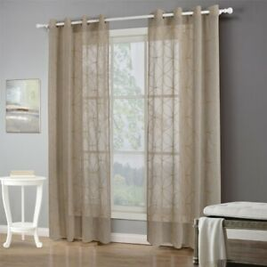 Striped Tulle Curtain Eyelets Window Sheer Voile Drape Living Room Home Decor