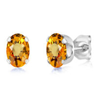 1.10 Ct Oval 6x4mm Yellow Sapphire 925 Sterling Silver Stud Earrings