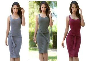 Women's Sleeveless Tie Front Bodycon Midi Dress Green, Wine, Grey Medium Large