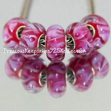 "*ONE~Murano Glass Bead ""Lavander Lilies on Hot Pink"" Sterling Silver non thread"