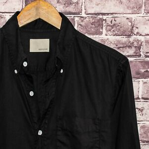 BAND OF OUTSIDERS Men's Button Front Shirt Solid Black 100% Cotton Size 1