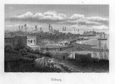 Sydney, Australien, Gesamtansicht, Original-Stahlstich von 1878