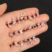 Moon Star Flower CZ Zircon Piercing Earrings Tragus Cartilage Helix Ear Stud