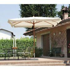 Ombrellone da giardino 3x2 m con struttura in legno e palo centrale telo ecrù