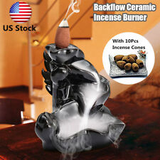 Ceramic Buddhist Lotus Incense Burner Smoke Backflow Cone Censer Holder+10 Cones